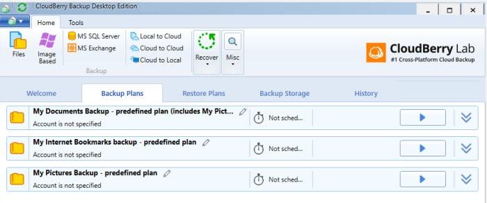 Cloudberry backup sets screen