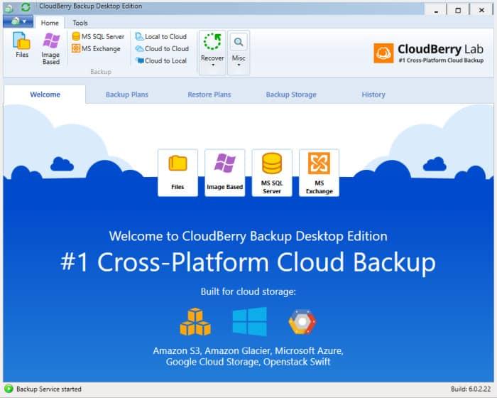 Cloudberry Windows backup home screen
