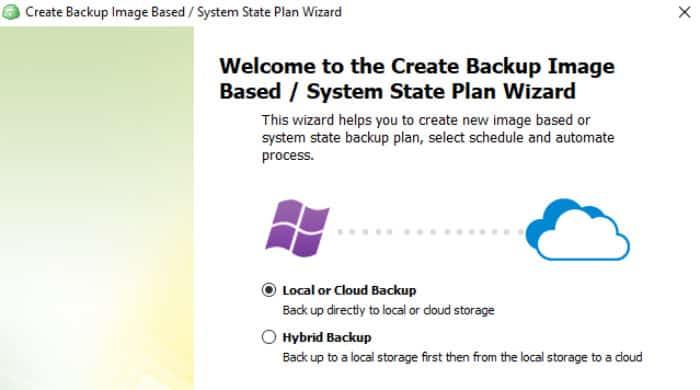 Cloudberry hybrid backup option screen