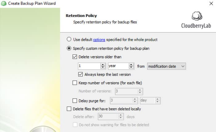 cloudberry backup retention policy screen