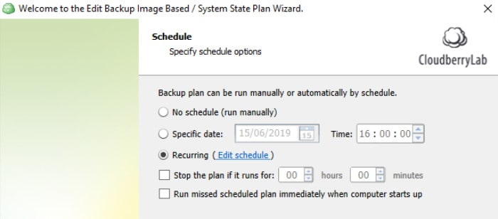 cloudberry backup scheduling options screen