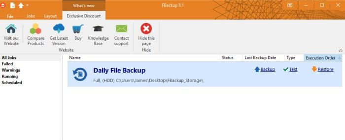 fbackup main home screen image