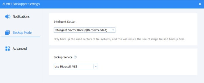 aomei backupper backup settings screen