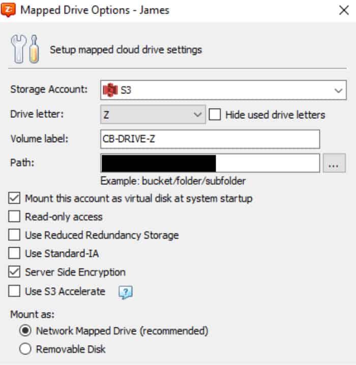 cloudberry drive add new drive screen