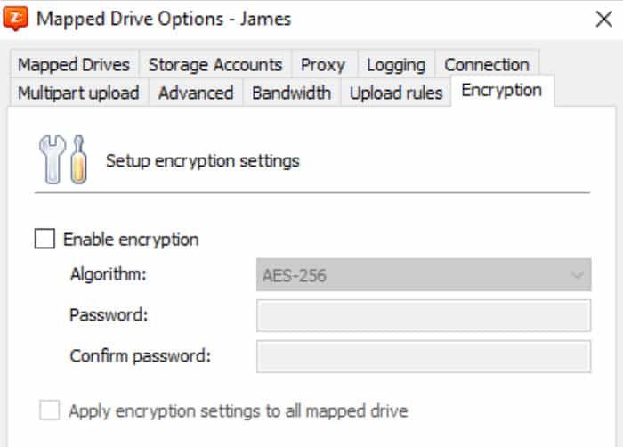 cloudberry drive encryptinn screen