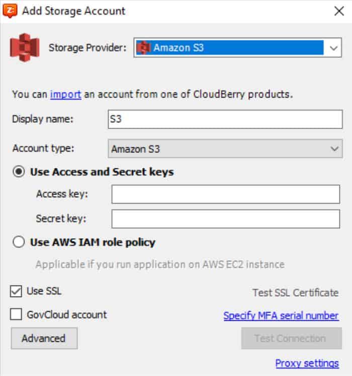 cloudberry drive new storage account screen