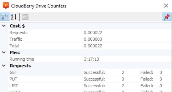 cloudberry drive usage counter screen