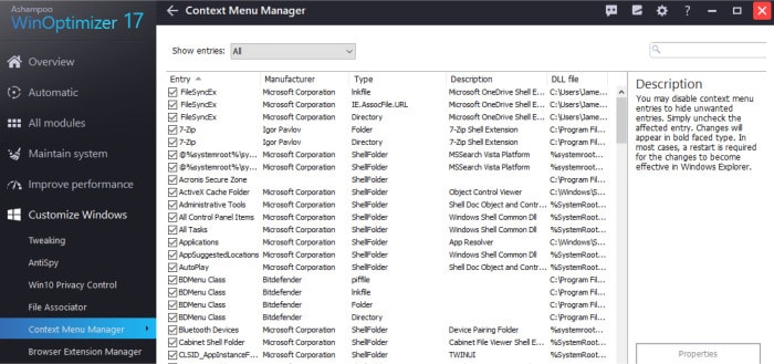 win optimizer 17 contect menu manager screen