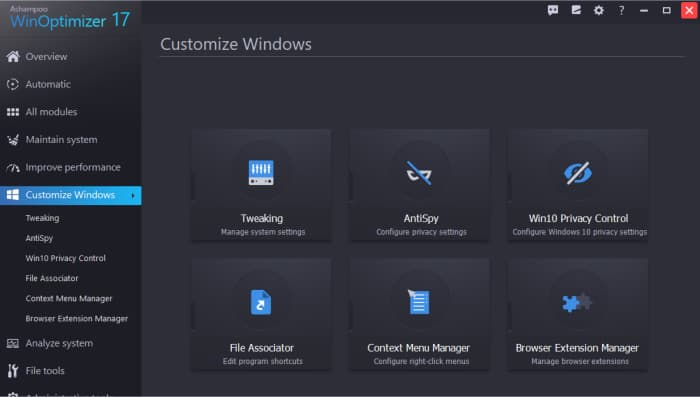 winoptimizer 17 customise windows tools screen