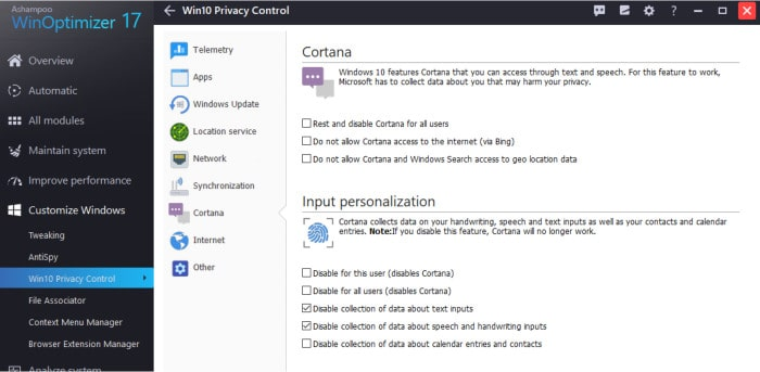 winoptimizer windows 10 privacy control screen