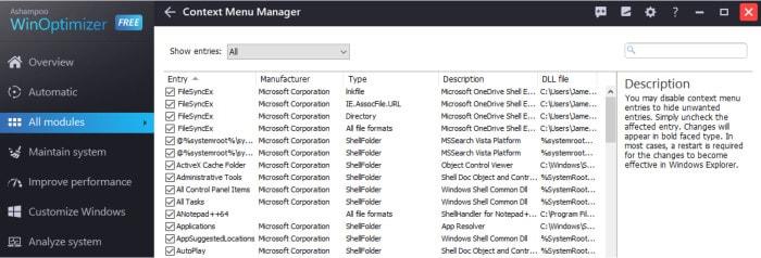 winoptimizer free context menu screen