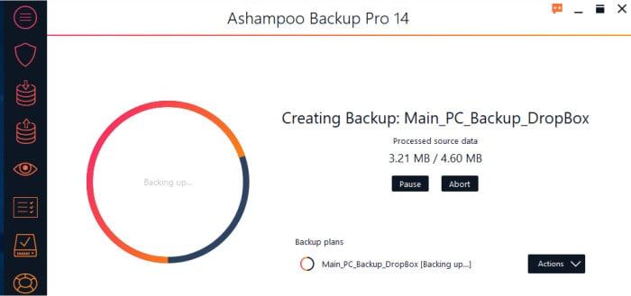 backup pro 14 backup progress screen
