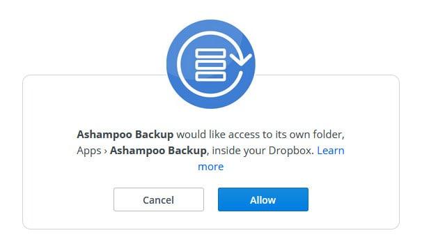backup pro 14 dropbox authorise screen