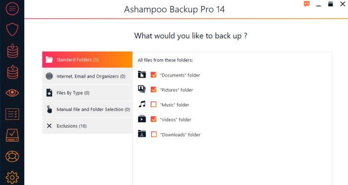 backup pro 14 file selection screen