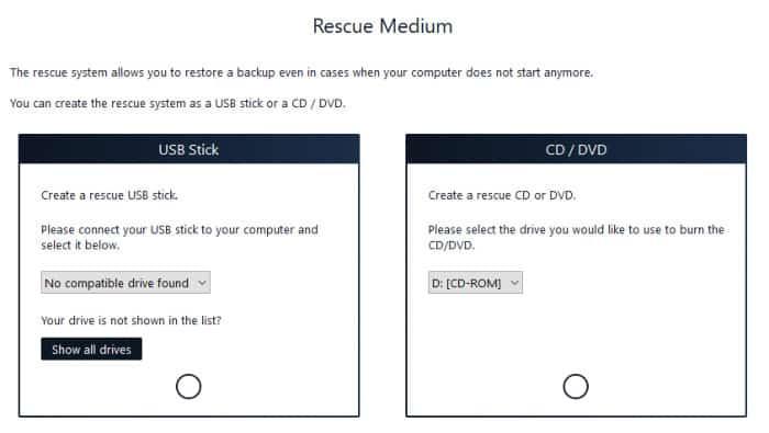 backup pro 14 recovery media screen