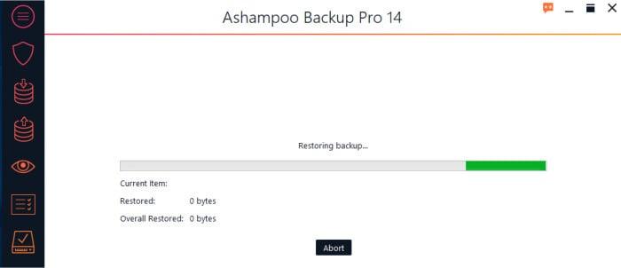backup pro 14 restore in progress screen