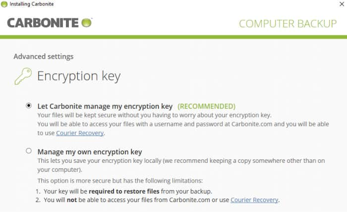 carbonite encryption options screen