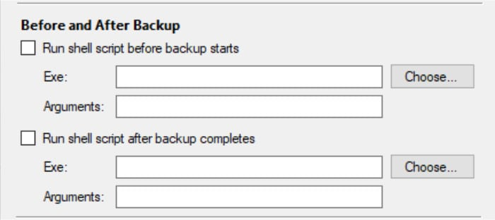 arq backup run scripts before and after