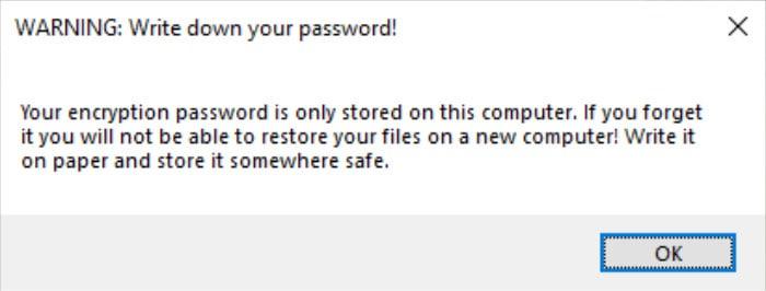 arq backup password warning