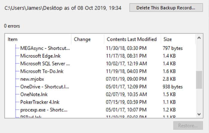 arq restore files selection box