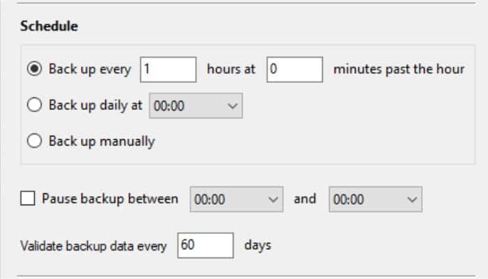 arq backup scheduling settings