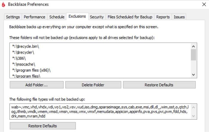 backblaze review exclude files