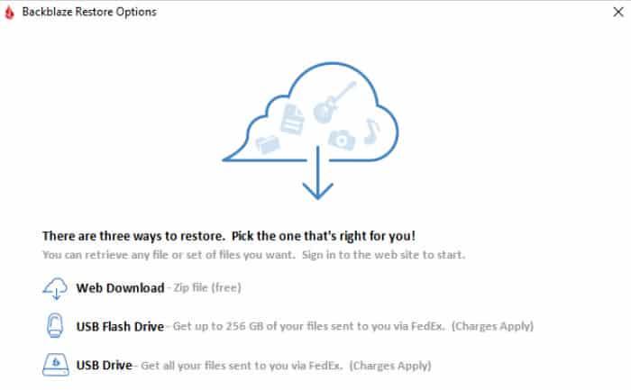 backblaze review restore options