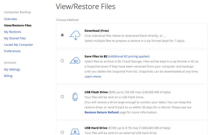 backblaze review restore to devices