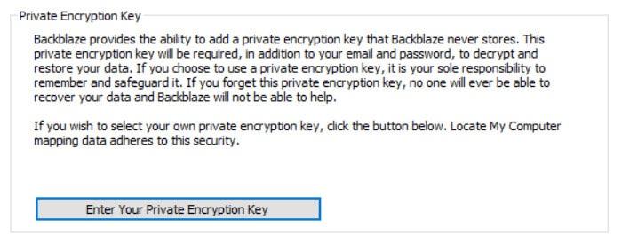 backblaze review set private encryption key