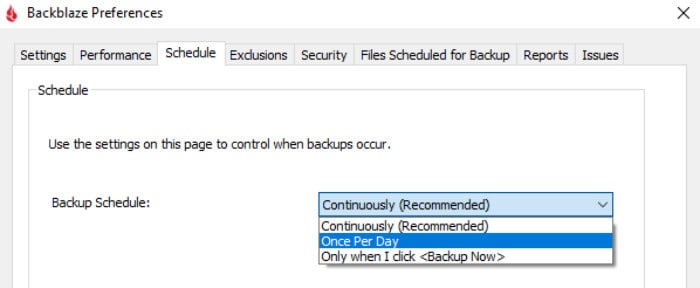 backblaze review set backup schedule