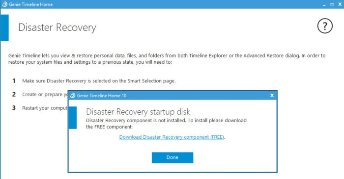 genie timeline disaster recovery screen