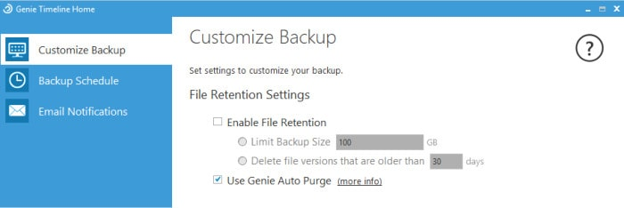 genie timeline versioning settings screen