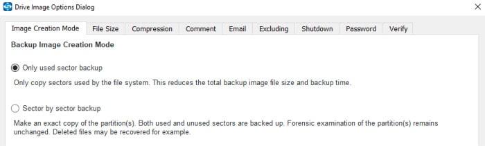 shadowmaker backup options screen