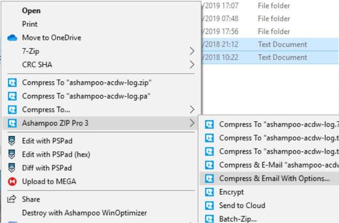 zip pro 3 context menu