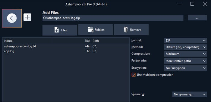 zip pro 3 context menu with options