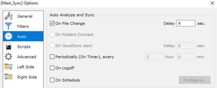 goodsync auto sync options