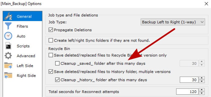 goodsync deleted files history