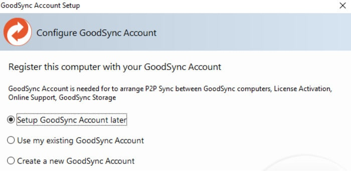 goodsync install create account