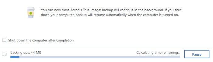 acronis true image backup running