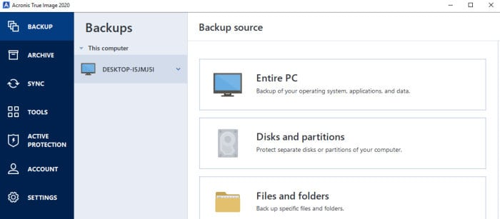 acronis true image backup sources