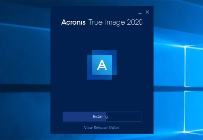 acronis true image installer running