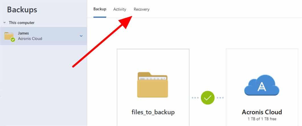 acronis true image restore tab location