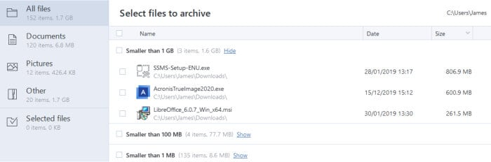 acronis true image select files to archive