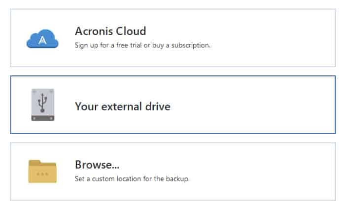 acronis true image storage locations