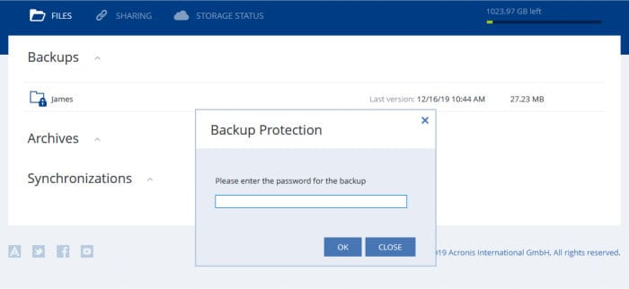 acronis web recovery console
