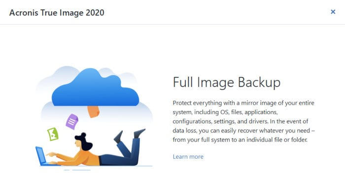 acronis true image welcome screen tips