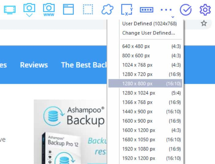 ashampoo snap 11 fixed resolution screen shots
