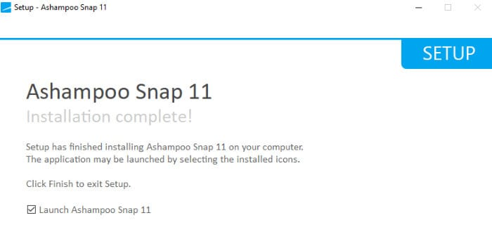ashampoo snap 11 install complete