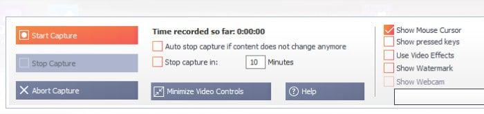 snap 11 video capture recording screen
