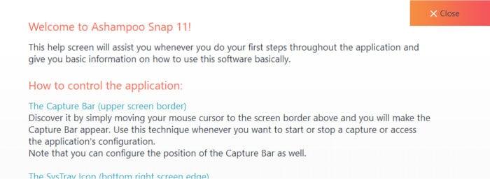 ashampoo snap 11 welcome help screen